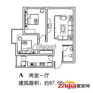 A两室一厅87.66平米