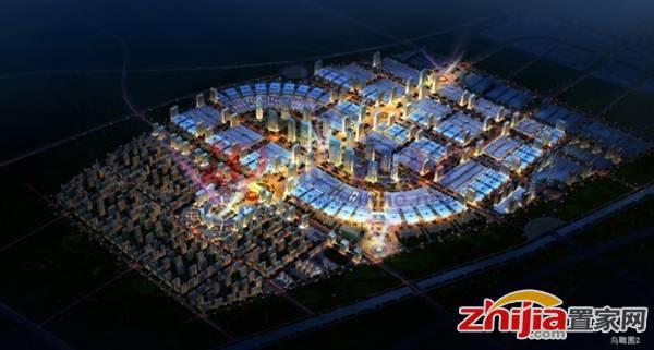 石家庄乐城国际贸易城 鸟瞰夜景图