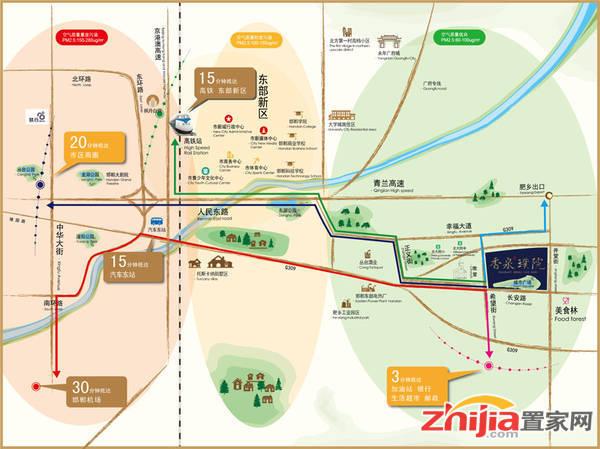 晋和·香泉璞院 交通图
