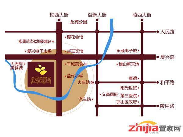卓冠·百变公寓 交通区位图