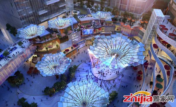 东南智汇城 中心广场鸟瞰图