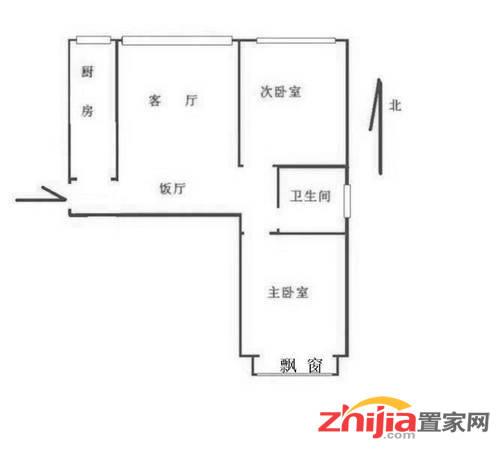 万达(回迁)B2南区 2300元 2室2厅1卫 简装,家具家