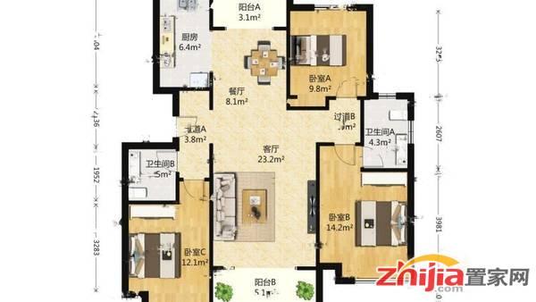 保利花园,大三居,双卧室朝南,南北通透,看房方便