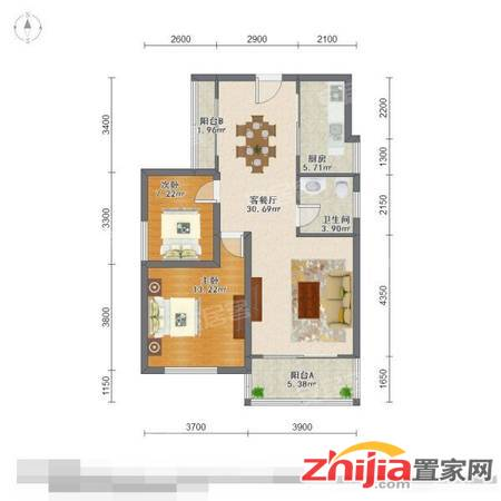 水榭花都 水系洋房社区 精装两室 户型方正 送全套家具家电