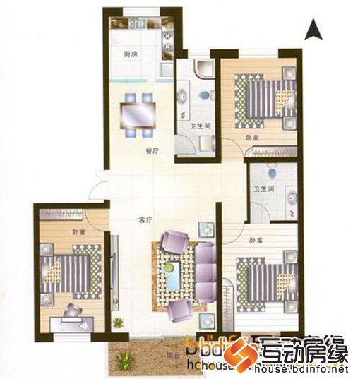 图为三室两厅两卫户型图