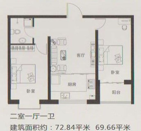 新世纪花园b区户型图 两室一厅一卫