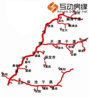 全市南水北调供水工程布置图-投资63亿元构建保定大水网 支撑京津水