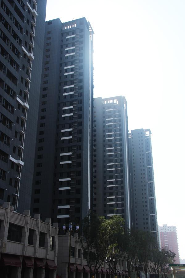 万浩金百合施工进度全城巨献 正在安装窗户框架结构