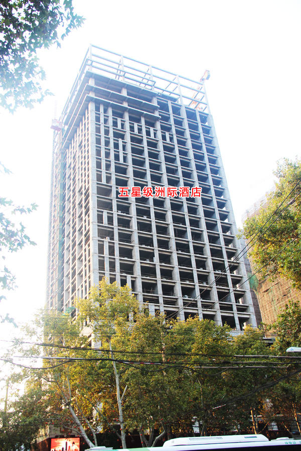 国际金融中心工程进度一览 五星级洲际酒店楼体已经封顶