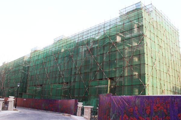 紫岸工程播报:南区别墅楼体已经挂上防护网