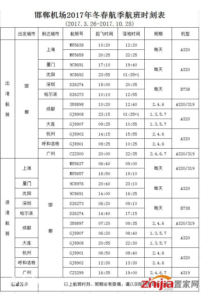 邯郸机场2017年冬春航季航班时刻表