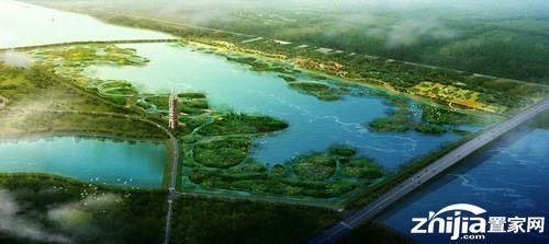 滹沱河湿地鸟瞰图(效果图)