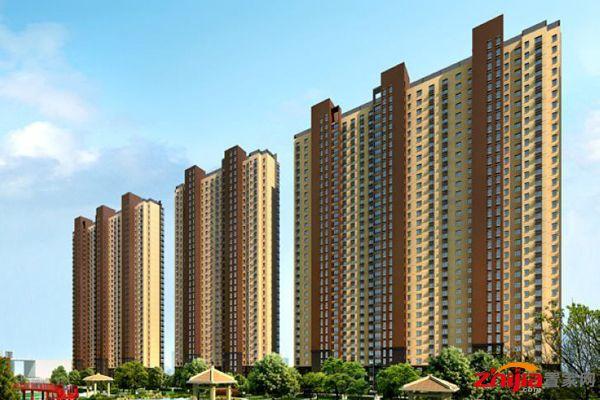 现代简约风格的高层住宅建筑与一栋商务写字楼以及商业裙楼共