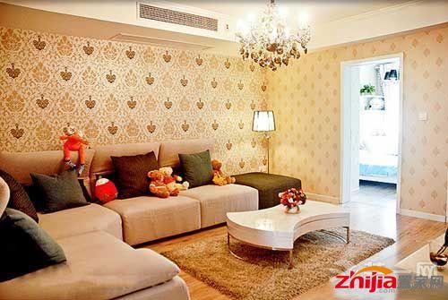 8万元装90平小三居装修效果图:这是客厅的样子色调很温馨甜蜜