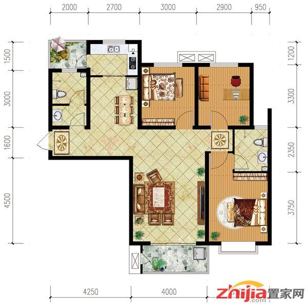 3#03户型:120.28平米三室两厅两卫