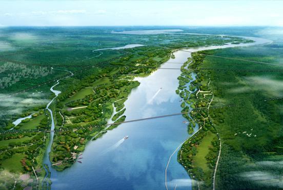 滹沱河景观规划三轴七区  正定新区建生态绿廊