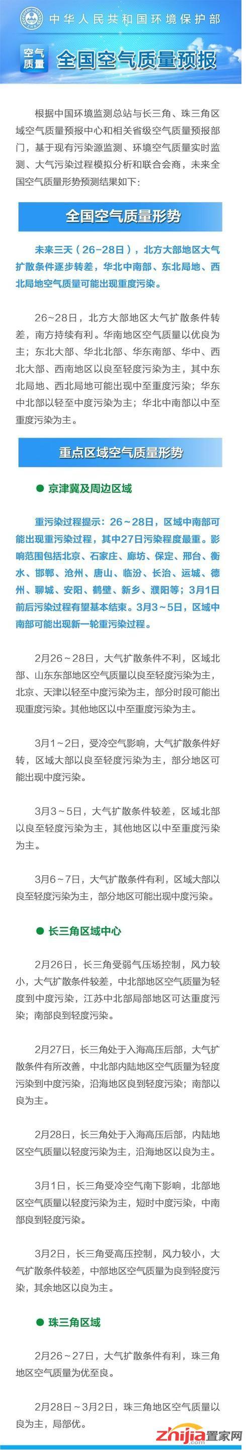 环保部:京津冀将迎新一轮空气污染 27日程度最重