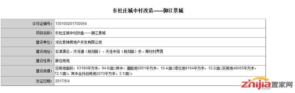 东杜庄城中村——御江景城 获得用地规划许可证