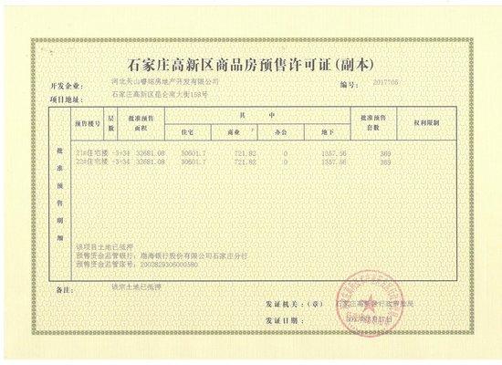 恭喜天山国宾壹號商业街21-22#喜获预售证
