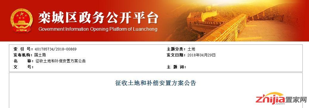 栾城区发布两则征收土地和补偿安置方案的公告