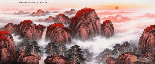 国画泰山图《旭日东升》,山峰连绵不断,气势雄伟,幽谷奇峰,其间白云