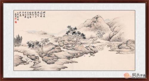 画面由近及远描绘了山峰,雾霭,遒松,民居,木桥以及行人等独特的景观.