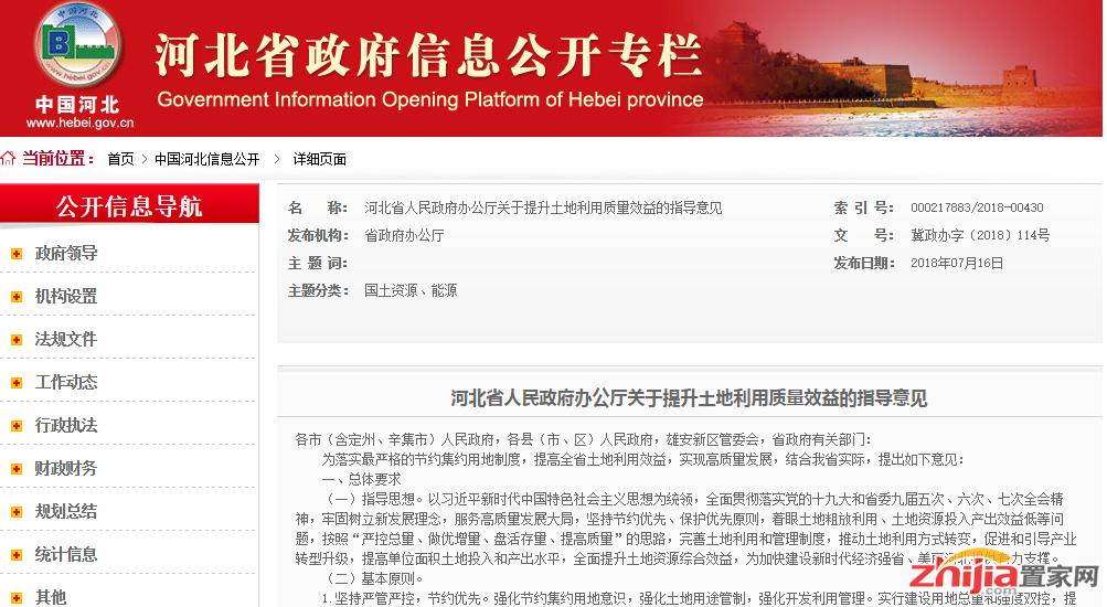 河北省人民政府办公厅关于提升土地利用质量效益的指导意见