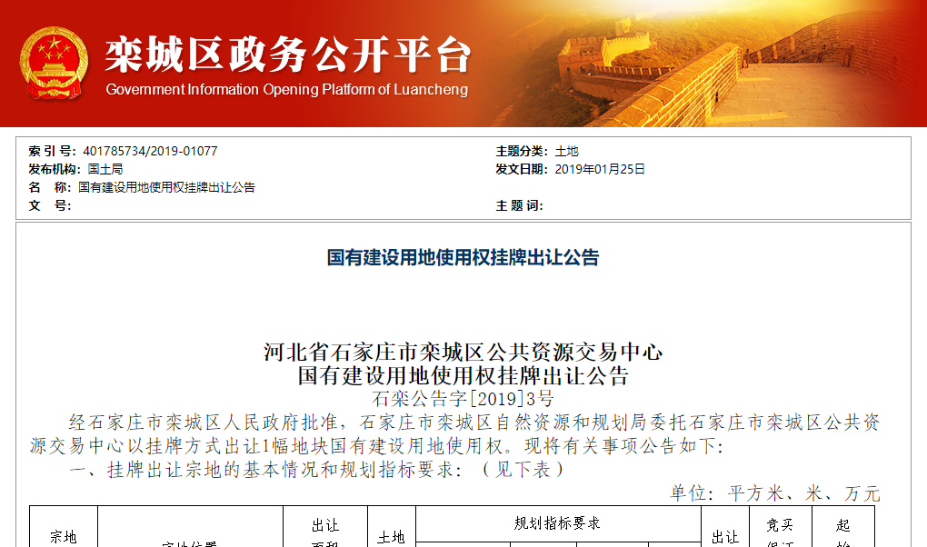 栾城区一室第用地挂牌,起始价近2亿