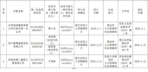 """河北省发布2019拖欠农民工工资""""黑名单"""""""